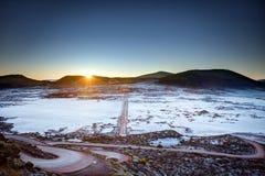 Plaine des Sables. Sunrise on volcanic landscape of Plaine des Sables with frost layer, Réunion Island National Park Royalty Free Stock Photo
