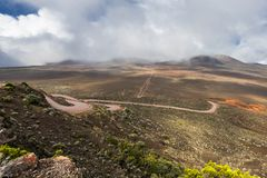 Plaine des Sables on La Réunion. La Réunion or Reunion Island is a French department in the Indian Ocean. This picture shows the road onto the Plaine des Royalty Free Stock Image
