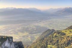 Plaines de rivière le Rhin, Suisse-Liechtenstein Image libre de droits