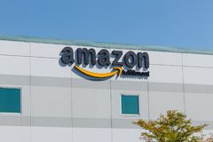 Plainfield - Około Sierpień 2018: Amazonka com zadości centrum Amazonka jest Wielkim opierającym się detalistą w USA X Obraz Stock