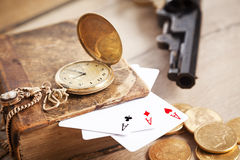 Plaing cards.Gambling and crime concept Stock Photos