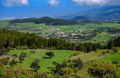 Plains, hills and forest with the indiand ocean in background in Stock Image