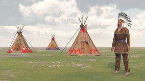 Plains Indian and Indian Camp Royalty Free Stock Image