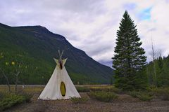 Plains Indian Tepee in the Rocky Mountains Royalty Free Stock Photo