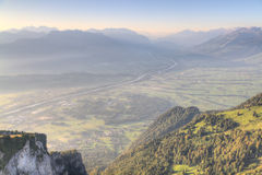 Plains of river Rhine, Switzerland-Liechtenstein Royalty Free Stock Image