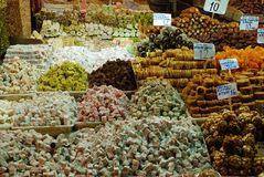 Plaisirs turcs, bonbons turcs traditionnels Images stock