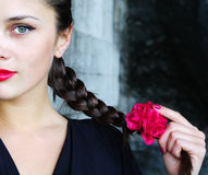 Plait with a red flower Royalty Free Stock Images