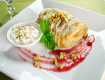 Plaited Apple Pie. Delicious fresh baked plaited apple pie with walnuts and creamed cottage cheese stock photos
