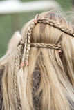 Plaited hair. Close up of plaited hair royalty free stock photo