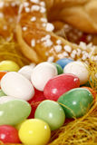 Plaited yeast wreath and sugar eggs Royalty Free Stock Image