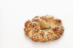 Plaited yeast wreath on white background, Ester pastry Stock Image