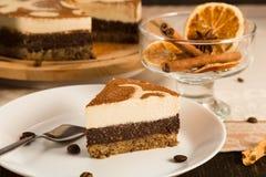 Plak van 'de ruwe cake van Tiramisu ' stock afbeeldingen
