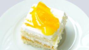 Plak van cake met ananas catering stock footage