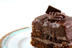 Plak van chocoladecake Stock Foto