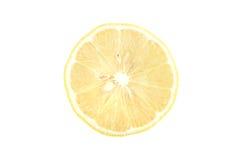 Plak van citroen op een witte geïsoleerde achtergrond Stock Foto