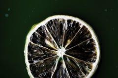 Plak van citroen op het groene water Stock Foto