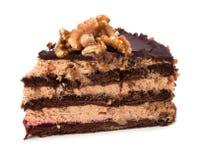 Plak van de cake van de chocoladeroom Stock Afbeelding