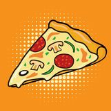 Plak van de Pizza van de pepperonispaddestoel vector illustratie
