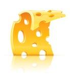 Plak van geel poreus kaasvoedsel met gaten stock illustratie