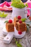 Plak van gelaagde honingscake royalty-vrije stock fotografie