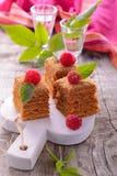 Plak van gelaagde honingscake stock foto