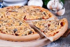 Plak van kaaspizza op een houten raad Royalty-vrije Stock Afbeeldingen