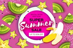 Plak van kiwi en carambola De Verkoopbanner van de banaan Super Zomer in document besnoeiingsstijl Origami sappige rijpe groene g Royalty-vrije Stock Afbeelding