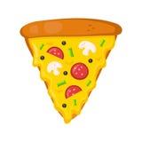 Plak van pepperonispizza Vlakke ontwerp vectorillustratie op wit Royalty-vrije Stock Afbeeldingen