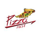 Plak van pizza op een witte achtergrond Stock Afbeelding