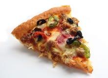 Plak van pizza opperst over wit Royalty-vrije Stock Afbeelding