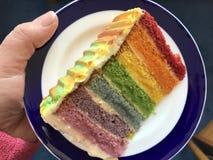 Plak van regenboogcake stock foto