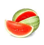 Plak van rijpe watermeloen met waterdalingen Stock Foto's