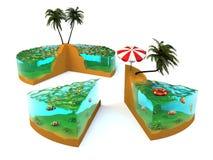 Plak van tropisch eiland Stock Afbeelding
