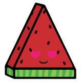 Plak van watermeloen met emoties Het houden van glimlach Vectorillustratie in beeldverhaalstijl vector illustratie