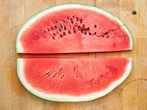 Plak van watermeloen op de lijst Stock Afbeelding