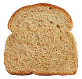Plak van wholewheat brood dat op wit wordt geïsoleerdr Stock Foto's