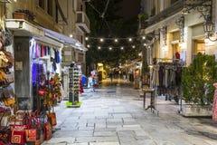 Plaka晚上市场在雅典 图库摄影