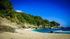 Plaka海滩,皮立翁山,希腊 图库摄影