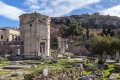 Plaka,雅典-希腊 风的塔或Andronikos Kyrrhestes Horologion  免版税库存图片