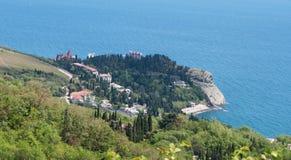 Взгляд сверху скалистой накидки Plaka в Чёрном море, Крыме Стоковое фото RF