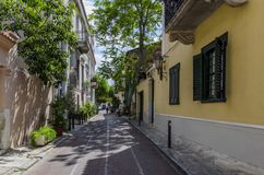 Plaka, Athens, Greece. Narrow alley with traditional houses royalty free stock image