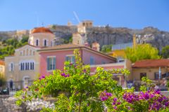 Plaka, Athens, Greece. Streets and classic buildings in Plaka district of Athens, Greece. Plaka is a popular area full of restaurants, cafes and bars stock image