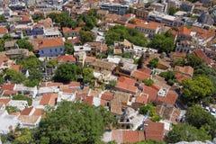 Plaka, oud de stadscentrum van Athene, luchtmening Royalty-vrije Stock Foto's
