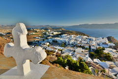 Plaka town from Panagia Thalassitra church. Milos. Cyclades islands. Greece. Milos or Melos is a volcanic Greek island in the Aegean Sea, just north of the Sea Royalty Free Stock Image