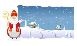 Plakat - świętego Nicholas przedstawienia zimy noc przy wioską w polylined kształcie royalty ilustracja