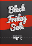 Plakat Black Friday Schwarzweiss-Hintergrund, Rabatte, Prozente, Verkauf, Text 3D Verkauf und Sonderangebot Vektor Stockbild