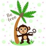 Plakat był swobodnie ślicznym małpą - wektor, ilustracja, eps royalty ilustracja