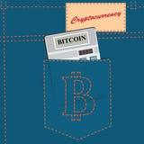Plakat cryptocurrency - Bitcoin Stockfotos