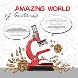 Plakat der erstaunlichen Welt der Bakterien mit Mikroskop auf nahtlosem Muster Stockfoto