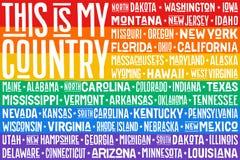 Plakat der Flagge der Regenbogen Vereinigten Staaten von Amerika Stockbild